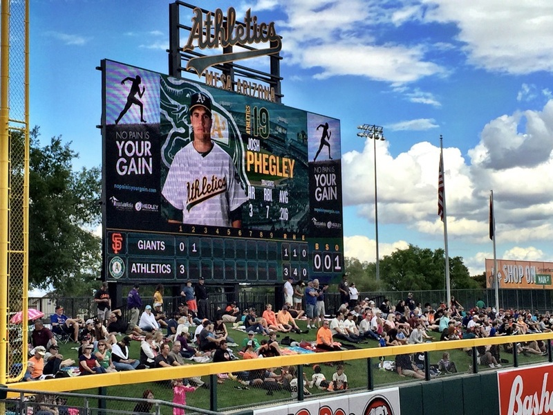 View of the scoreboard from the third base stands